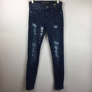 NWT Express Womens Jeans Legging Mid Rise 2 R